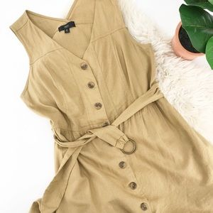 Mossimo XL Linen Blend Dress Tan Khaki Color